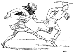 Vintage illustration of men in tights running for the Golden Goose bedtime story