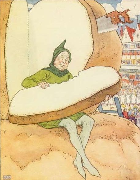 Vintage illustration of man with enormous potato for the Golden Goose bedtime story
