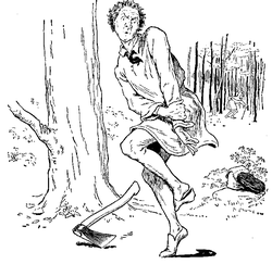 Vintage illustration of woodcutter and axe, for the Golden Goose bedtime story