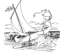 Vintage illustration of boat on sea or the Golden Goose bedtime story
