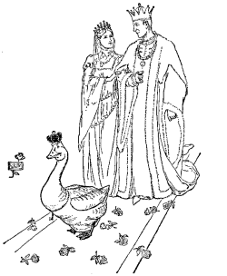 Vintage illustration of king, queen and goose for the Golden Goose bedtime story