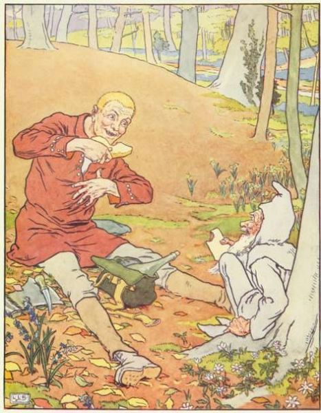 Vintage illustration of two men sharing picnic, for the Golden Goose bedtime story