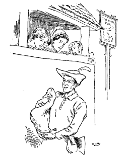 Vintage illustration of man carrying goose, for the Golden Goose bedtime story