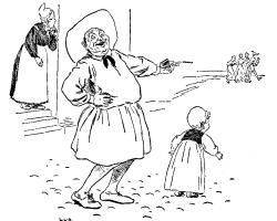 Vintage illustration of fat man laughing, for the Golden Goose bedtime story