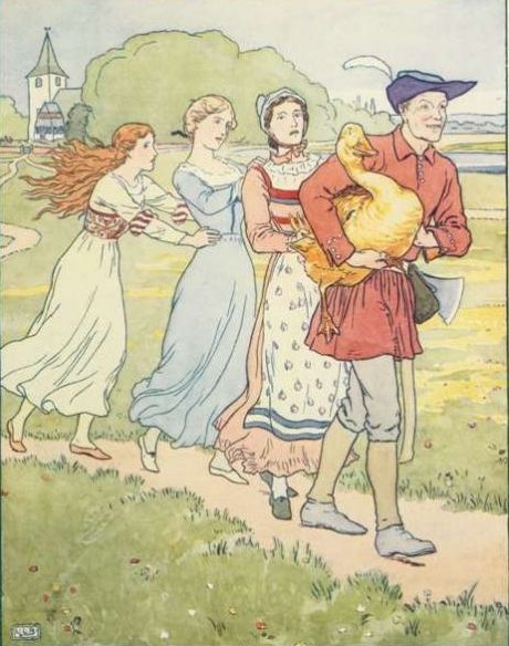 Vintage illustration of people carrying goose, for the Golden Goose bedtime story