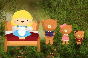 Goldilocks and the Three Bears bedtime story illustration