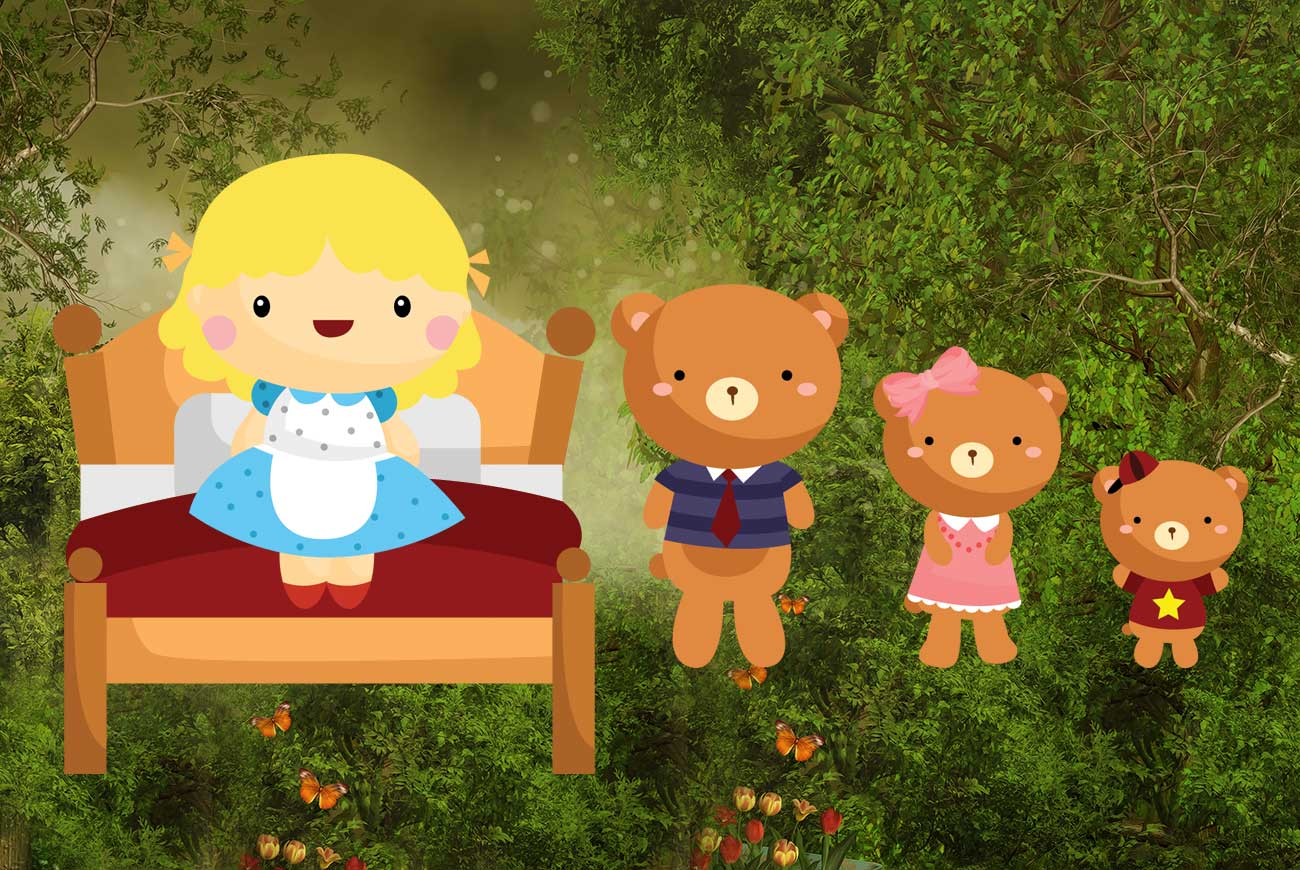Goldilocks and the Three Bears bedtime story illustration