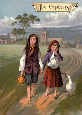 Original vintage illustration of brother and sister for kids short story GoodyTwo Shoes