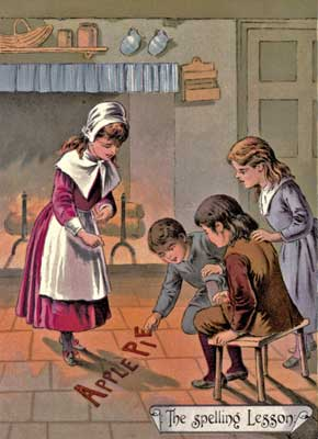Original vintage illustration of children playing in yard for kids short story GoodyTwo Shoes
