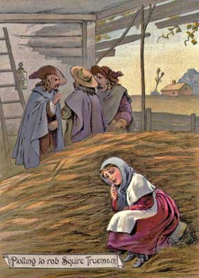 Original vintage illustration of woman sitting by men and haystack for kids short story GoodyTwo Shoes
