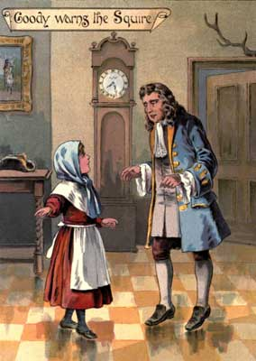 Original vintage illustration of woman talking to man with grandfather clock for kids short story GoodyTwo Shoes