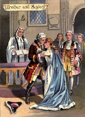 Original vintage illustration of court embrace for kids short story GoodyTwo Shoes