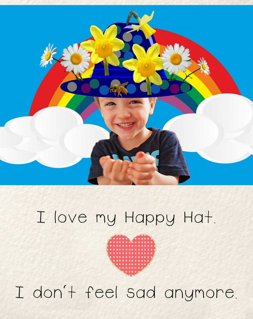 Bedtime stories early readers The Happy Hat - smiling child with bright hat, rainbow and heart