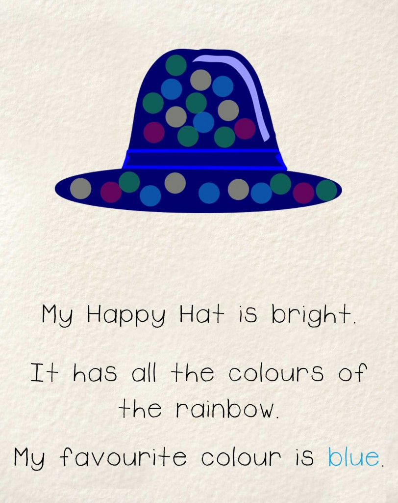 Bedtime stories early readers The Happy Hat - blue hat with polka dots