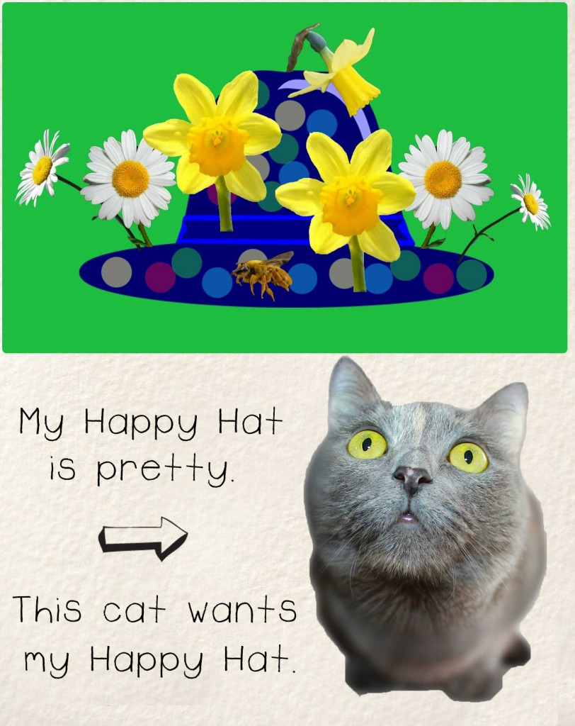 Bedtime stories early readers The Happy Hat - hat with flowers and curious cat
