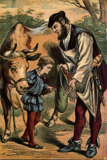 Original vintage illustration of boy and cow at market for kids story Jack and the Beanstalk