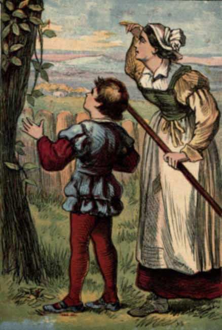 Original vintage illustration of boy and mother with bean stalk for kids story Jack and the Beanstalk