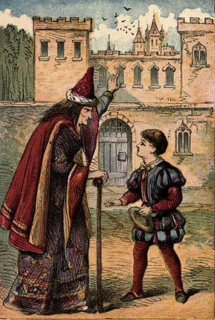 Original vintage illustration of boy and magician for kids story Jack and the Beanstalk