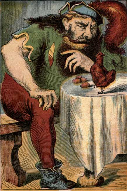 Original vintage illustration of giant sitting at table for kids story Jack and the Beanstalk