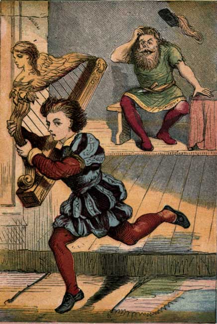 Original vintage illustration of Jack escaping giant with magic harp for kids story Jack and the Beanstalk