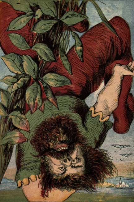 Original vintage illustration of giant falling off beanstalk for kids story Jack and the Beanstalk