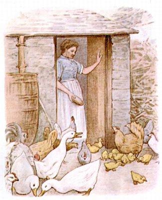 Vintage Beatrix Potter illustration of woman at farm door, for Jemima Puddleduck bedtime story