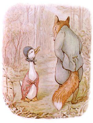 Vintage Beatrix Potter illustration of goose and fox talking, for Jemima Puddleduck bedtime story