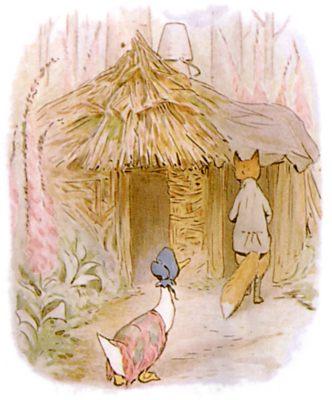 Vintage Beatrix Potter illustration of goose and fox going into house, for Jemima Puddleduck bedtime story