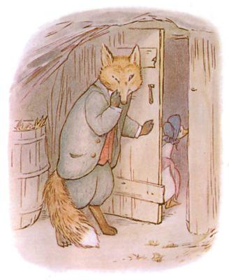 Vintage Beatrix Potter illustration of goose and fox shutting door, for Jemima Puddleduck bedtime story