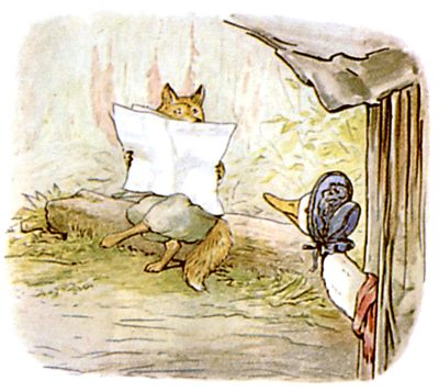Vintage Beatrix Potter illustration of goose and fox reading journal for Jemima Puddleduck bedtime story