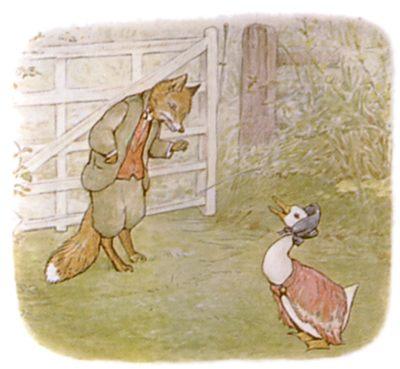 Vintage Beatrix Potter illustration of goose and fox outside barn for Jemima Puddleduck bedtime story
