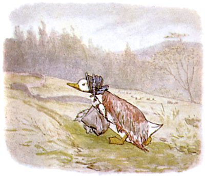 Vintage Beatrix Potter illustration of goose walking up hill, for Jemima Puddleduck bedtime story