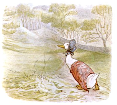 Vintage Beatrix Potter illustration of goose with bonnet, for Jemima Puddleduck bedtime story