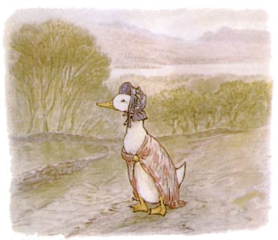 Vintage Beatrix Potter illustration of goose in dress walking along road, for Jemima Puddleduck bedtime story