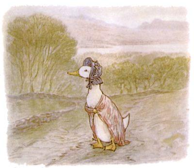 Vintage Beatrix Potter illustration of goose in dress walking along road, for Jemima Puddleduck bedtime story