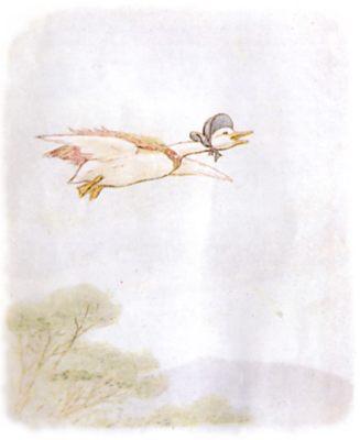 Vintage Beatrix Potter illustration of goose flying over trees, for Jemima Puddleduck bedtime story