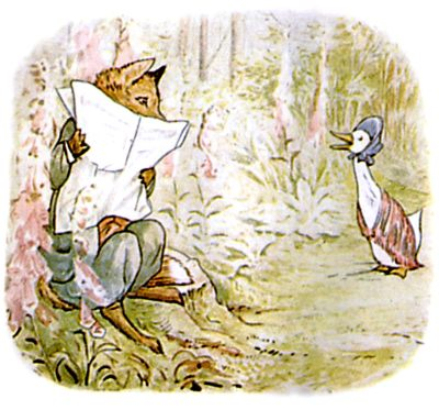 Vintage Beatrix Potter illustration of goose and fox reading paper, for Jemima Puddleduck bedtime story