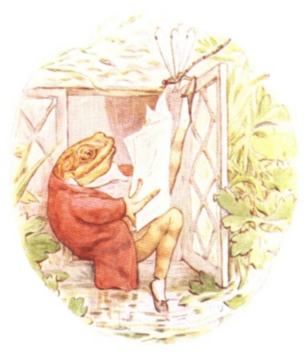 Vintage Beatrix Potter illustration of frog in red waistcoat relaxing by window, from Jeremy Fisher short story for kids