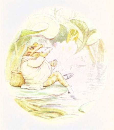 Vintage Beatrix Potter illustration of frog relaxing in garden, from Jeremy Fisher short story for kids