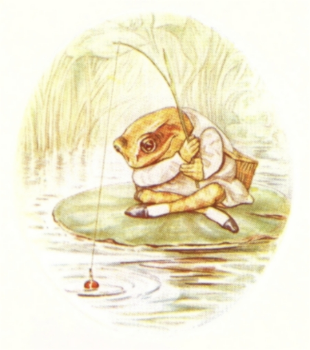 Vintage Beatrix Potter illustration of frog fishing with line, from Jeremy Fisher short story for kids
