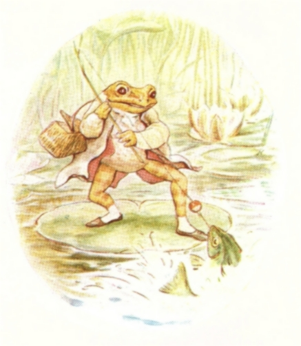 Vintage Beatrix Potter illustration of frog walking on lily pad, from Jeremy Fisher short story for kids