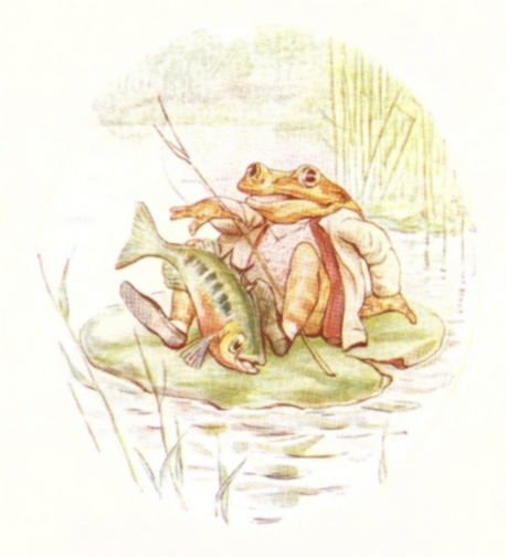 Vintage Beatrix Potter illustration of frog catching fish in river, from Jeremy Fisher short story for kids