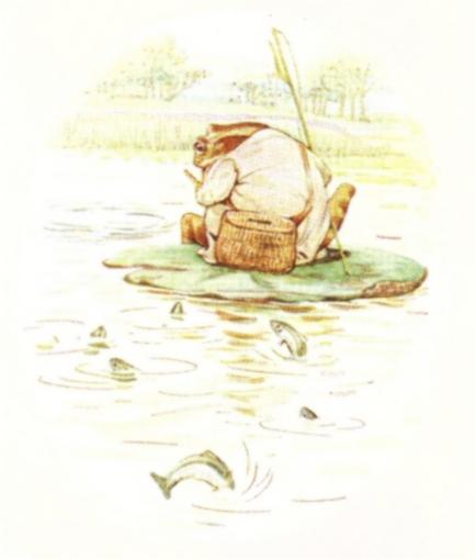Vintage Beatrix Potter illustration of frog fishing on a lily pad pond, from Jeremy Fisher short story for kids