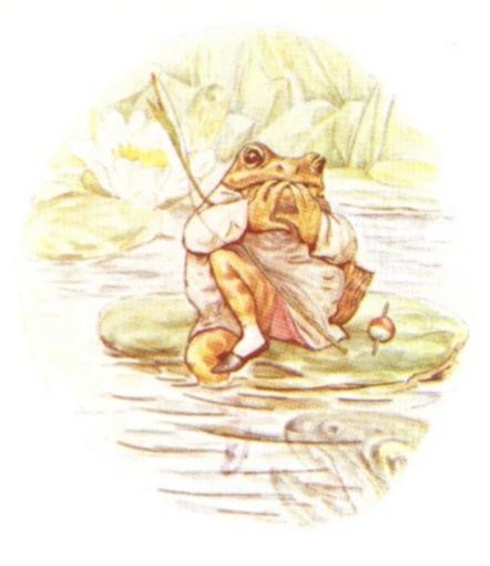 Vintage Beatrix Potter illustration of frog on a lily pad, from Jeremy Fisher short story for kids