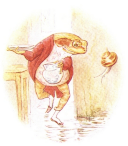 Vintage Beatrix Potter illustration of frog in red waistcoat, from Jeremy Fisher short story for kids
