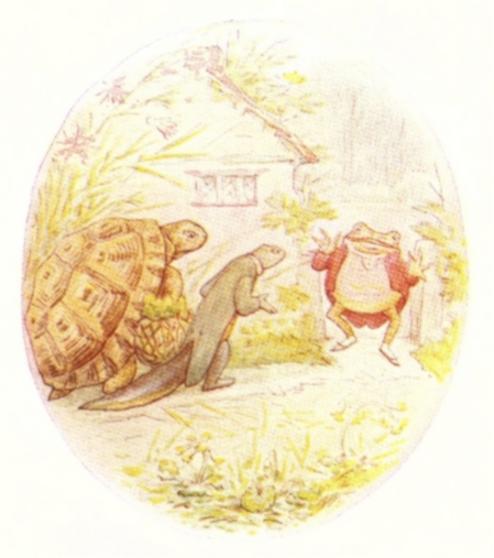 Vintage Beatrix Potter illustration of frog, turtle and lizard in garden, from Jeremy Fisher short story for kids