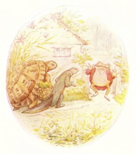 Vintage Beatrix Potter illustration of frog, turtle and lizard in garden, from Jeremy Fisher short story for kids