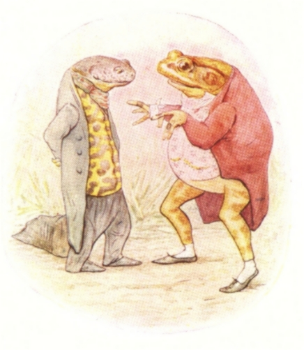 Vintage Beatrix Potter illustration of frog and lizard talking, from Jeremy Fisher short story for kids
