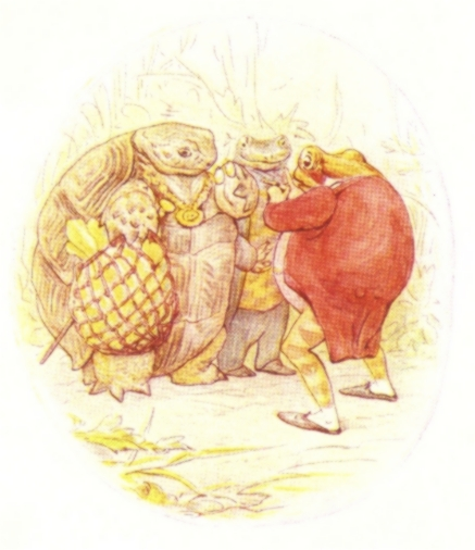 Vintage Beatrix Potter illustration of frog and turtle talking, from Jeremy Fisher short story for kids