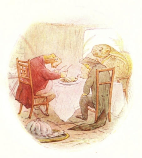 Vintage Beatrix Potter illustration of frog in red waistcoat having dinner with friends, from Jeremy Fisher short story for kids